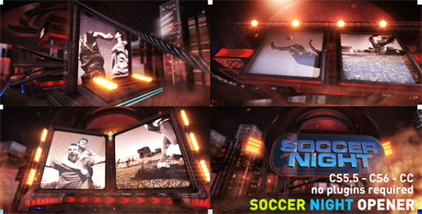 AE模板 震撼科技烟雾特效渲染足球之夜屏幕揭示开场模版 AE素材
