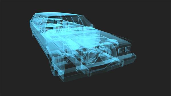 3D空间构建汽车模型透明内部配件旋转视角观看视频素材