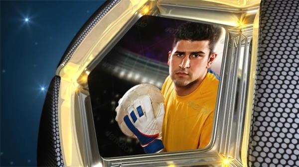 AE模板 震撼大气三维足球旋转比赛人物介绍开场片头 AE素材