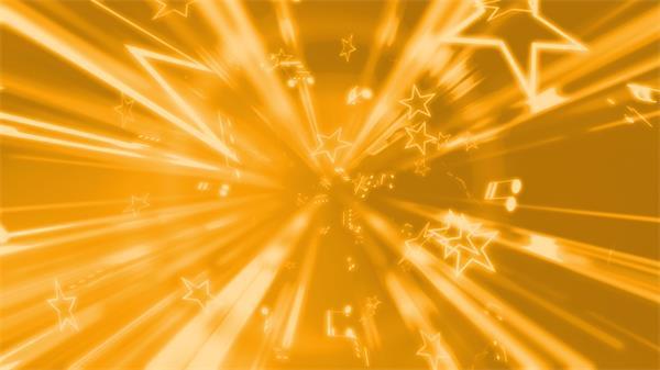 金光隧道线条星星音符时光穿越动态LED背景视频素材