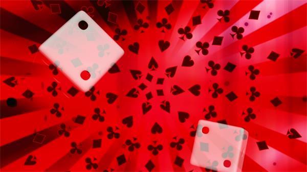 扑克牌黑白骰子漂浮转动酒吧夜店动态LED背景视频素材