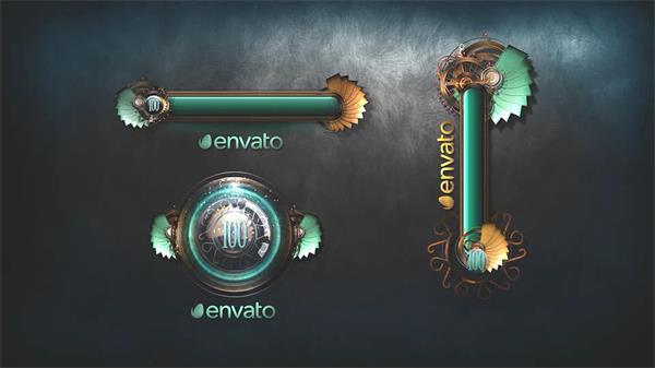AE模板 复古典雅游戏视觉感受加载器画出LOGO标志模板 AE素材
