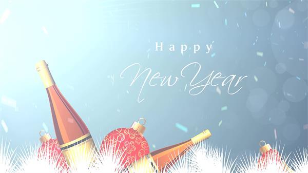 高兴时辰新年节日高兴彩带飘舞香槟灯笼漫画屏幕配景视频素材