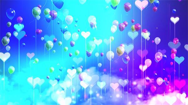 缤纷色彩心形气球上升云雾飘浮绚丽背景儿童节背景视频素材
