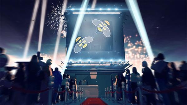 AE模板 3D立体空间射灯移动红地毯电影开场LOGO标志模版 AE素材