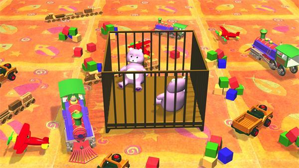 儿童开心时辰玩具熊汽车飞机积木玩具屋子六一儿童节视频素材