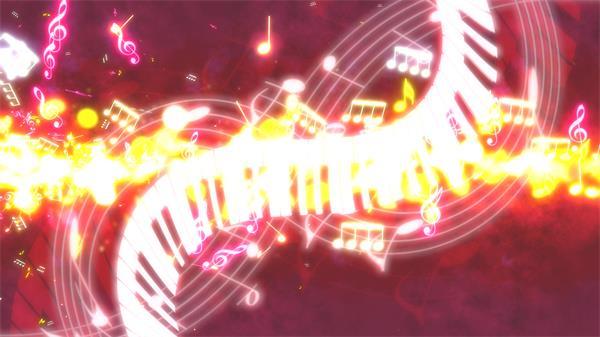 絢麗燦爛光效音樂音符飛舞鋼琴按鍵扭曲移動音樂盛宴背景視頻素材