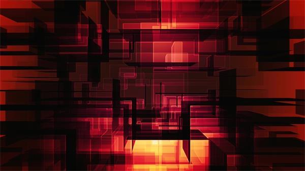 层次感红色炫光透明方块叠加上升动态LED背景视频素材