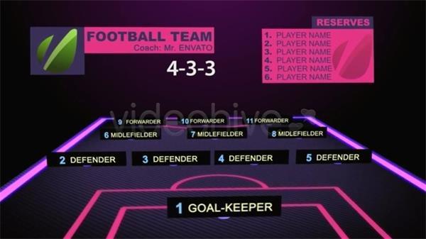 AE模板 三维足球员球场分布变换方案图文展示模版 AE素材