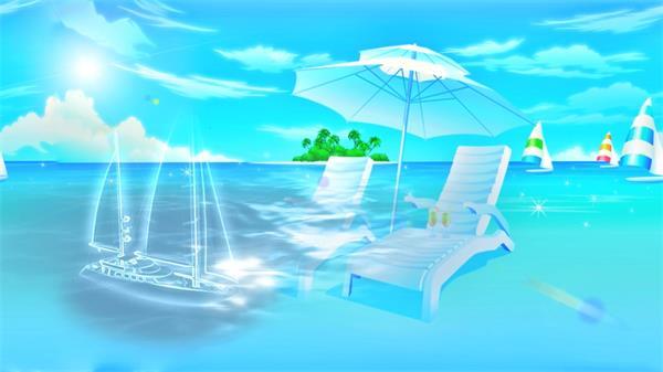 清凉夏威夷海滩太阳伞帆船LED动态背景视频素材