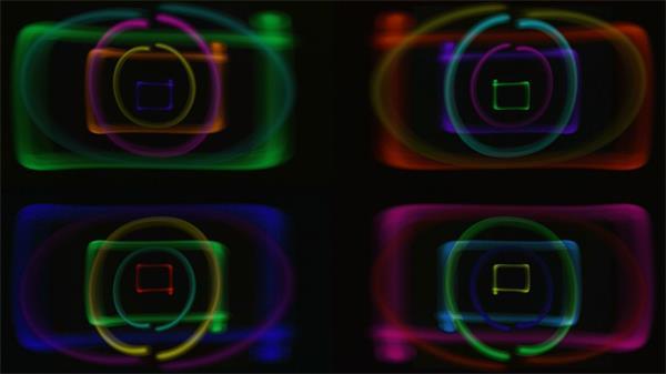 唯美分屏七彩圆圈矩形跳动LED动态背景视频素材