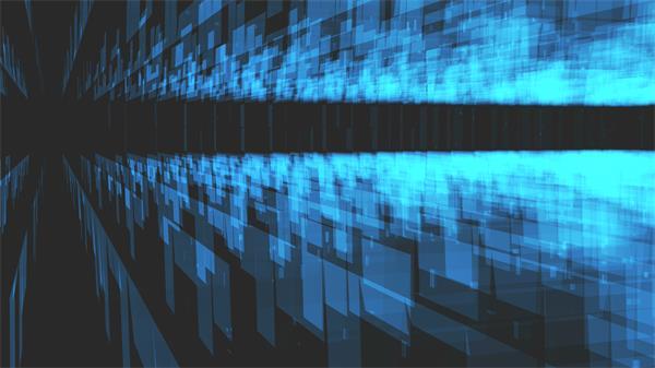 半透明藍色科幻方塊規律排列布局空間旋轉視覺沖擊背景視頻素材