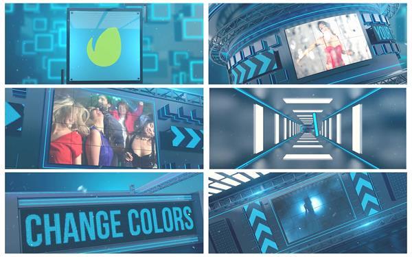 AE模板 大气科幻3D平面电子荧屏拼接电视节目栏目包装 AE素材