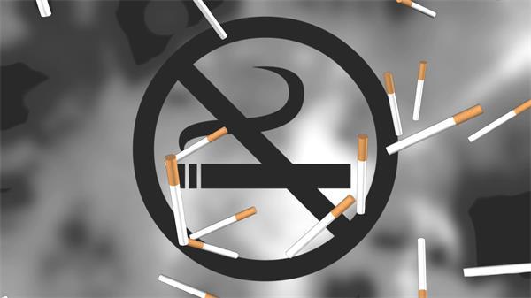 禁止吸烟标识香烟飘落烟雾笼罩公众场合禁止吸烟高清视频素材