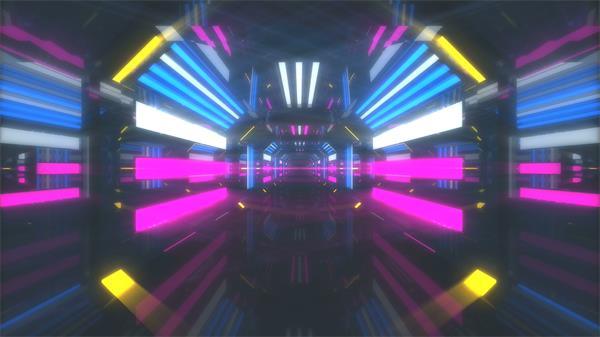 绚丽霓虹灯隧道快速穿梭夜场酒吧LED舞台背景素材