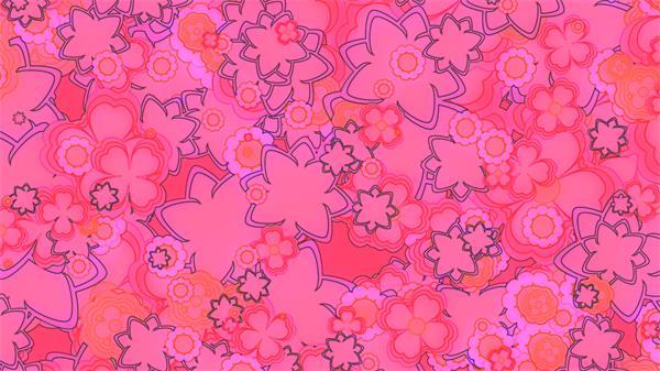 创意温馨甜美粉红迷你复古花朵花纹旋转梦幻般高清背景视频素材