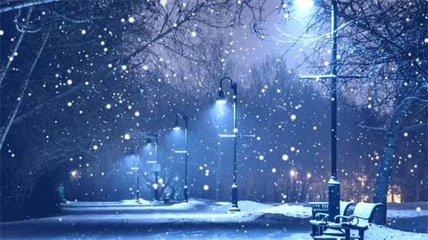 苍凉黑夜飘雪路灯照亮雪地LED静态配景视频素材