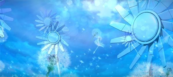 三维平面风车旋转蒲蓝天白云公英随风飘荡LED静态配景视频素材