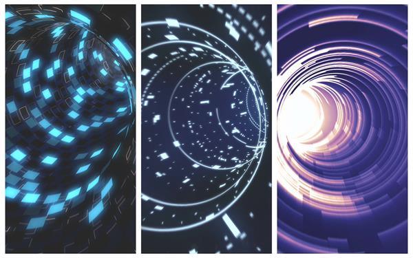 神秘科幻光效粒子空间隧道穿越时光视觉过渡切换场景视频素材
