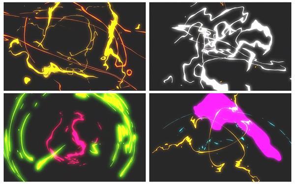 趣味卡通动画快速变化闪电条闪烁过渡场景屏幕背景视频素材