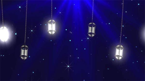 黑夜街灯照亮天空白色粒子上升LED动态背景视频素材