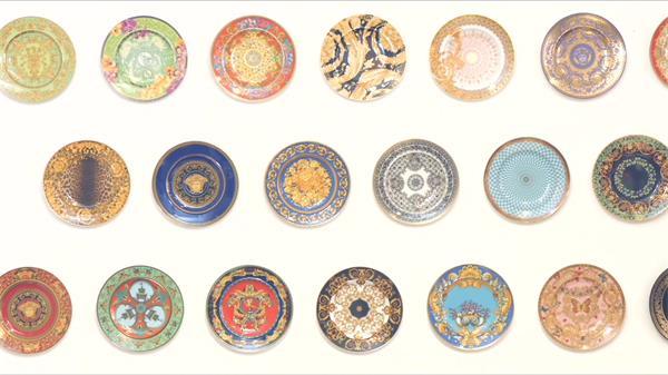精巧美丽欧式斑纹作风陶瓷碟经典设计思绪碟子高清视频实拍