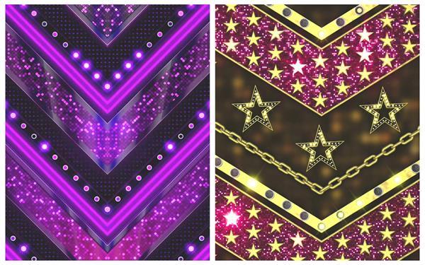 精美绚丽条形三角循环下坠星星光效梦幻LED屏幕背景视频素材