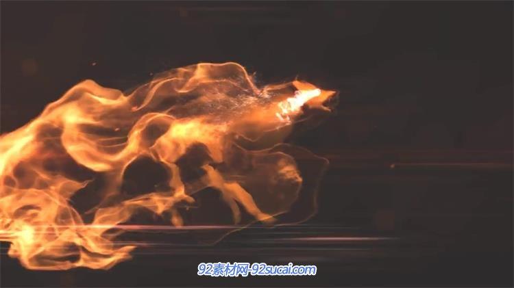 ae模板 震撼神秘虚拟火焰狼奔跑变化粒子演绎企业logo模板 ae素材