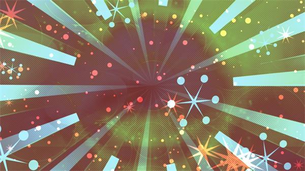 复古动感条形冲击旋涡圆点六角图案符号飘浮背景循环视频素材