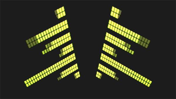 壮丽对称音乐节拍音量条闪耀跳动LED静态配景视频素材