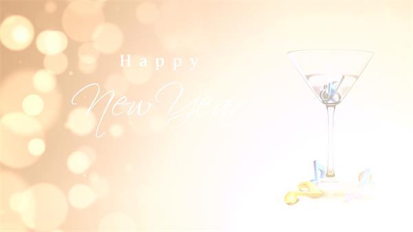 唯美高兴鸡尾酒羽觞庆贺新年高兴音乐标记飘浮圆点配景视频素材