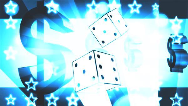 创意魔幻光效骰子美元符号转动星星闪闪魔术屏幕背景视频素材