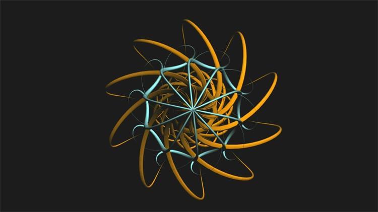 三維線性匯聚圓球逆時針旋轉LED動態背景視頻素材