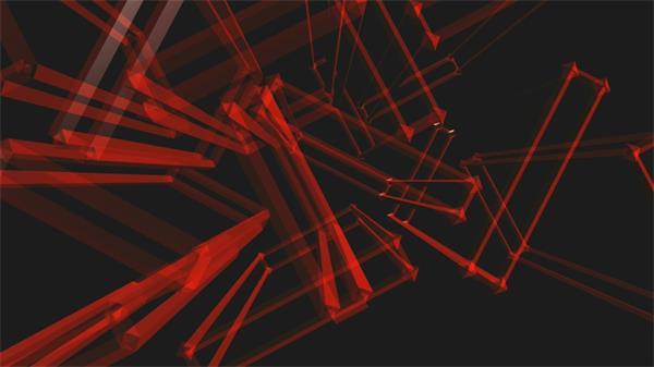 立體矩形空間旋轉LED動態背景視頻素材