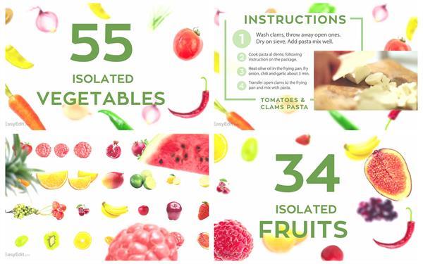 AE模板 创意清爽烹调安康食品美食节目切换滑动栏目模板 AE素材
