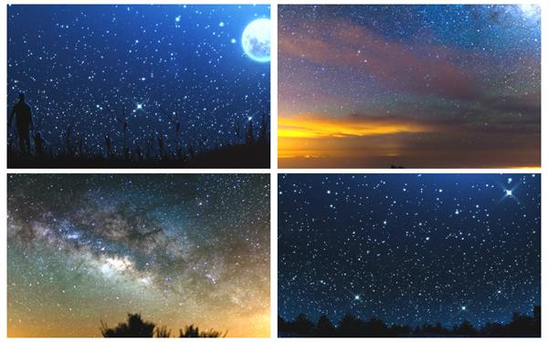 梦境般壮丽闪闪星光浮云飘游绚烂星空唯美夜空静态配景视频素材