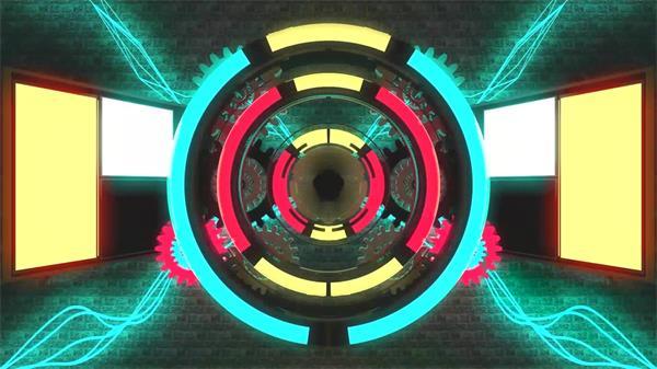 劲爆节奏跳动齿轮酒吧夜店LED动态背景视频素材