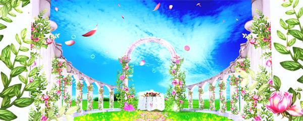 梦幻唯美浪漫圆拱场景婚礼背景花瓣飞舞鲜艳花朵屏幕背景视频素材