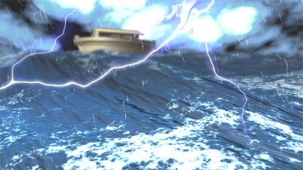 下雨天雷电交加海上航行小船海水汹涌荡漾视觉效果背景视频素材