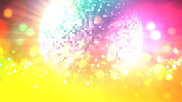 绚丽色彩活跃圆点运动夜场灯光圆球旋转吊球舞台屏幕背景视频素材