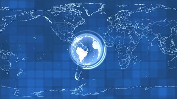 世界地图地球旋转?#29366;?#25195;描LED动态背景视频素材
