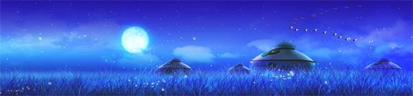 蔚蓝星空草原萤火虫粒子蒙古包LED动态背景视频素材