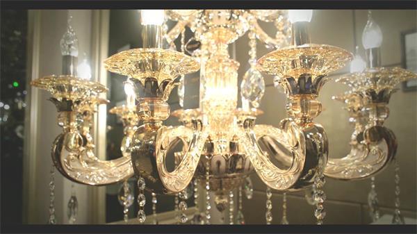 豪华大气吊顶水晶灯饰贩卖引见吊灯企业抽象宣传片高清视频实拍