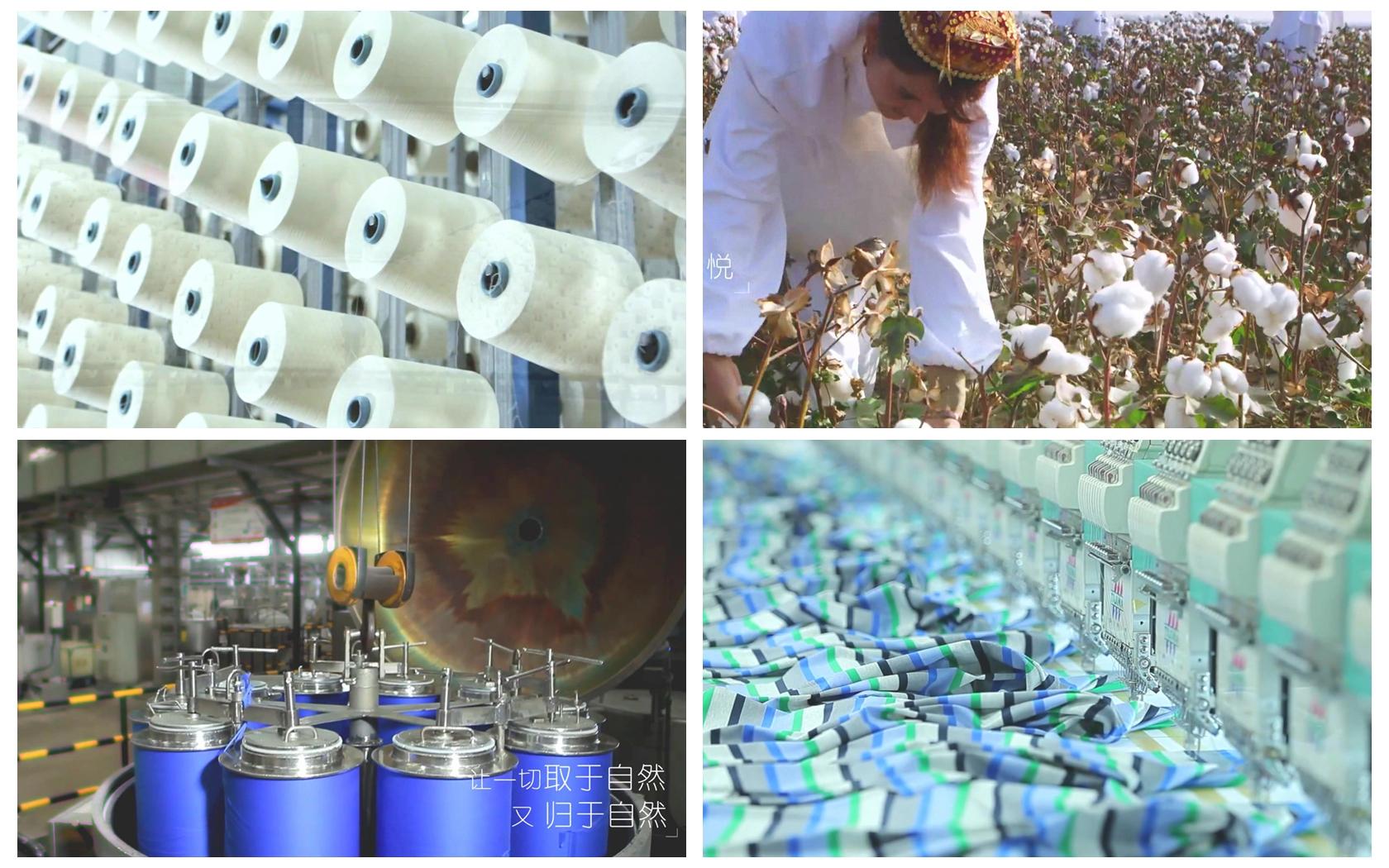 纺织公司形象宣传采摘棉花加工纺织染料印染企业高清视频实拍