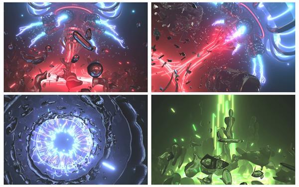 超酷机械科幻片效果液态水质飘浮光线穿插创意科技背景视频素材