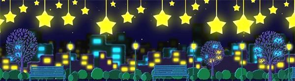 兒童卡通城市黑夜高掛星星LED動態背景視頻素材