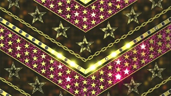唯美粉红闪灼光斑闪耀星星箭型降落LED静态配景视频素材
