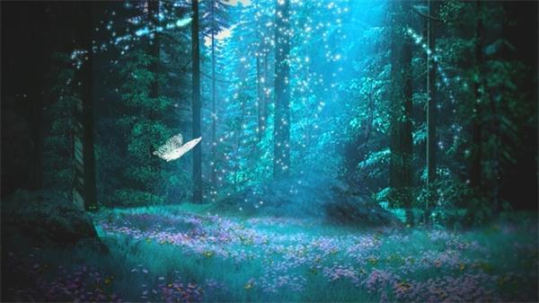 梦幻森林阳光粒子蝴蝶自由飞翔led动态背景视频素材