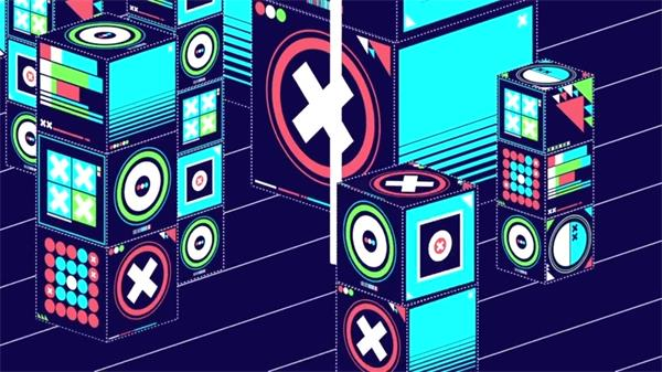 动感节奏卡通音箱酒吧夜店LED动态背景视频素材