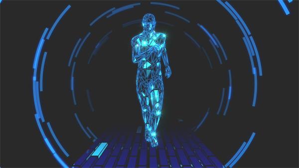 高端科技技术3D构建人物奔跑姿势光效线性渲染LED背景视频素材